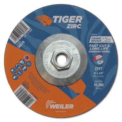 WEILER Tiger Zirc Grinding Wheels, 6 in Dia., 1/4 in Thick, 24 Grit, Zirconium