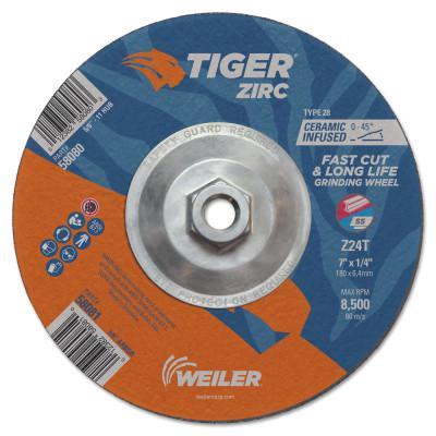 WEILER Tiger Zirc Grinding Wheels, 7 in Dia., 1/4 in Thick, 24 Grit, Zirconium