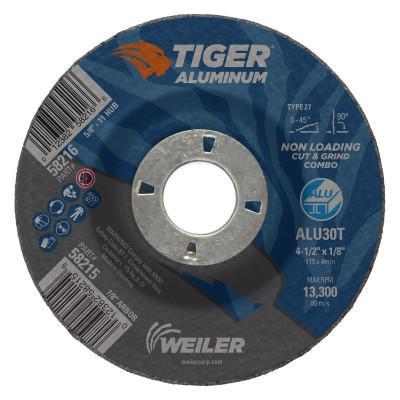 WEILER Aluminum Combo Wheels, 4 in Dia., 3/8 in Arbor, Type 1, 24 Grit, Alum. Oxide