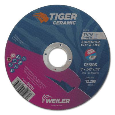 WEILER Tiger Ceramic Cutting Wheels, Type 27, 4 in Dia., 1/16 in Thick, 1/4 in Arbor