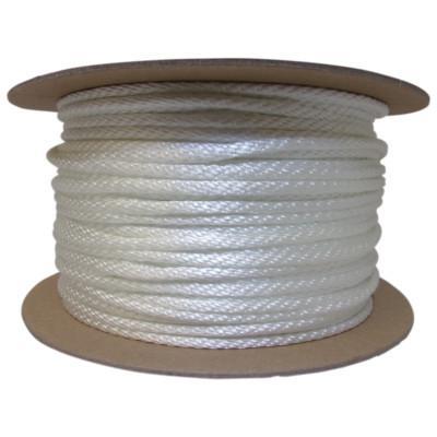 ORION ROPEWORKS INC Solid Braid Ropes, 1/4 in x 500 ft, Nylon (Polyamide), White