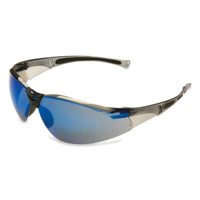 HONEYWELL NORTH A800 Series Eyewear, Blue Mirror Lens, Polycarbonate, Hard Coat, Gray Frame