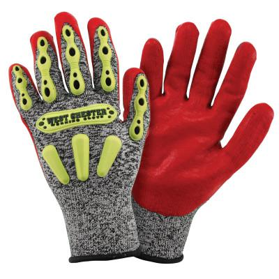 PIP Synthetic Leather Palm Gloves, Small, Gray Shell, Red Palm, Elastic, Unlined