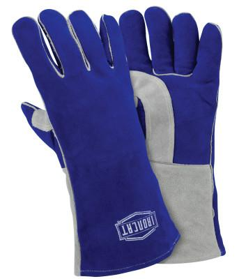 PIP Insulated Side Split Cowhide Welding Gloves, Double Reinforced Wing, Large, Blue