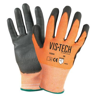 WELLS LAMONT Vis-Tech Cut-Resistant Gloves with Polyurethane Coated Palm, 2XL, Orange/Black