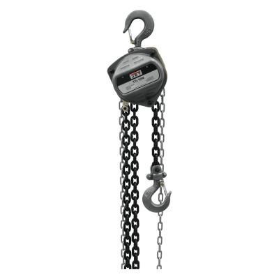 JET S-90 Series Hand Chain Hoist, 1 1/2 Tons Cap., 10 ft Lifting Ht., 1 Fall, 84 lbf