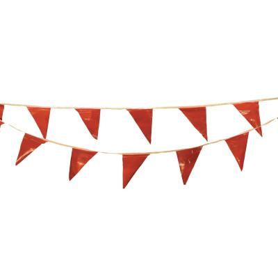 CORTINA Pennants, Vinyl, 9 in x 12 in, Red, 60 ft String