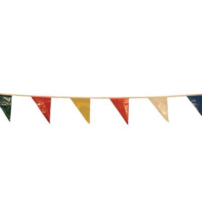 CORTINA Pennants, Vinyl, 9 in x 12 in, Multi-Colored, 60 ft String
