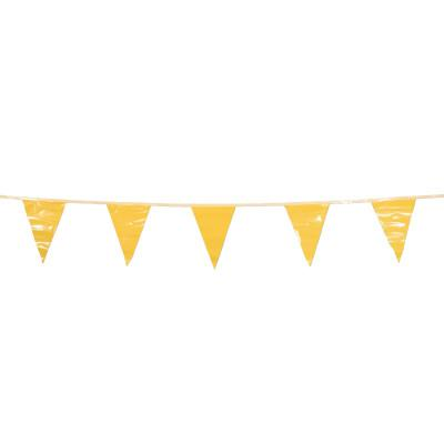 CORTINA Pennants, Vinyl, 9 in x 12 in, Yellow, 100 ft String