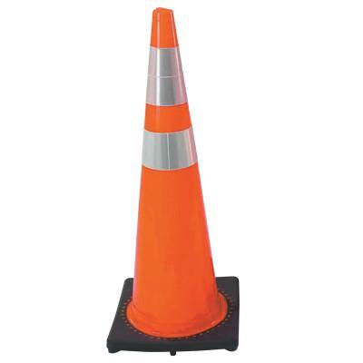 CORTINA PVC Traffic Cones, 36 in, 6 in & 4 in Reflective Collar, PVC, Red/Orange/Black