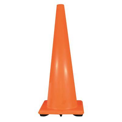 CORTINA PVC Traffic Cones, 36 in, PVC, 10 lb Base, Orange/Black