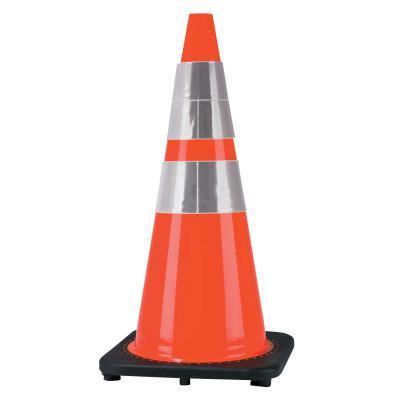 CORTINA PVC Traffic Cones. 28 in, 6 in & 4 in Reflective Collar, PVC, Orange/Black