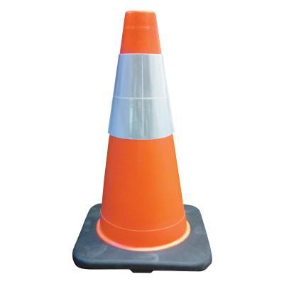 CORTINA PVC Traffic Cones, 18 in, 6 in Upper Reflective Collar, PVC, Orange/Black