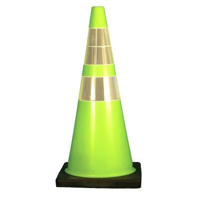 "CORTINA W Series Traffic Cones, 28 in, 6"" & 4"" Reflective Collar, PVC, Fluorescent Lime"