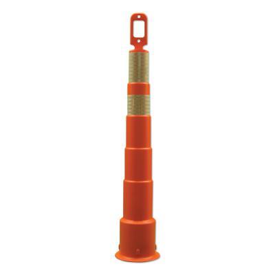 Grip N Go Channelizer Cones, 42 in, 1-4 in  & 1-6 in  HI Collars, Polyethylene, Orange
