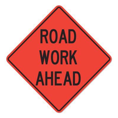 CORTINA Road Work Ahead Signs, Orange, Nonreflective, 48 in Long