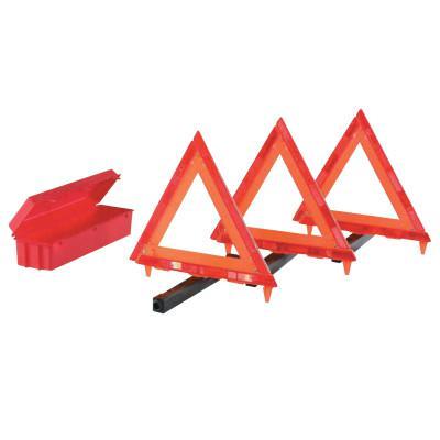 CORTINA Triangle Warning Kit, 3 Triangles in Living Hinge Box, 18 in, Red/Hi-Vix Orange