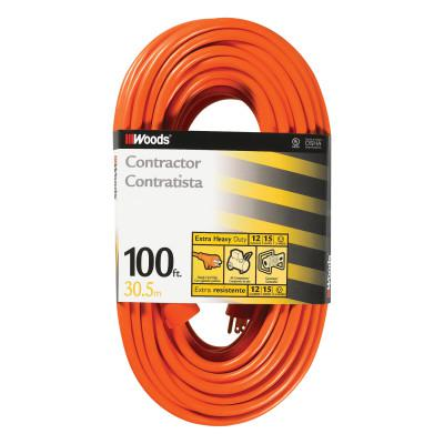 WOODS WIRE Outdoor Round Vinyl Extension Cord, 100 ft