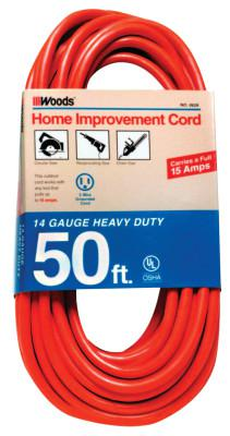 WOODS WIRE Outdoor Round Vinyl Extension Cord, 50 ft