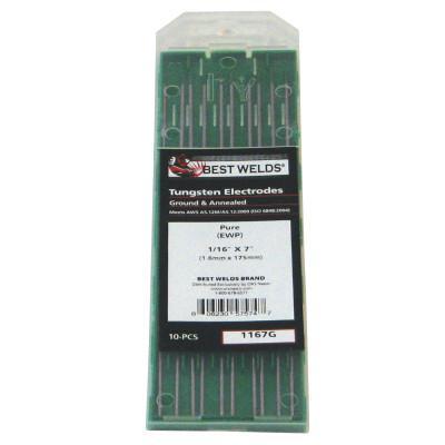 BEST WELDS Tungsten Electrode, Pure Ground, 7 in, Size 1/16