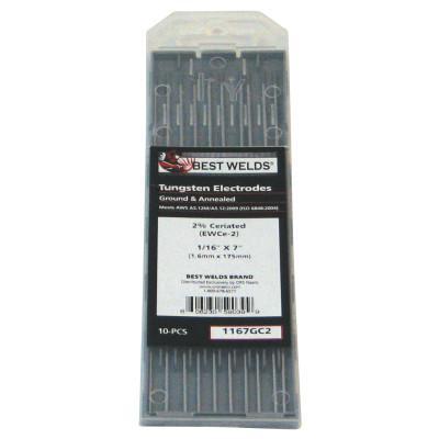 BEST WELDS Tungsten Electrode, 2% Ceria Ground, 7 in, Size 1/16