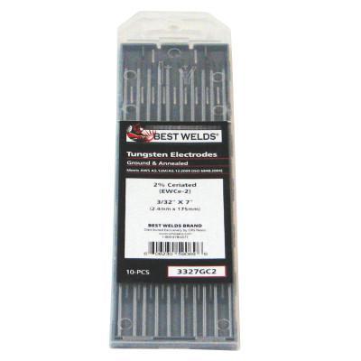 BEST WELDS Tungsten Electrode, 2% Ceria Ground, 7 in, Size 3/32