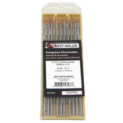 BEST WELDS Tungsten Electrode, 2% Ceria Ground, 7 in, Size 1/8