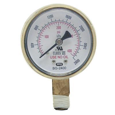 BEST WELDS 2 in Replacement Gauge, 60 psi, Brass, 1/4 in (NPT)