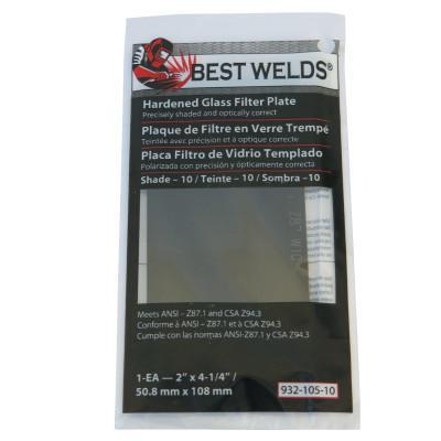BEST WELDS Glass Filter Plate, Shade 9, 4 1/2 x 5 1/4 in, Green