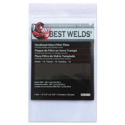 BEST WELDS Glass Filter Plate, Shade 13, 4 1/2 x 5 1/4 in, Green