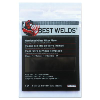 BEST WELDS Glass Filter Plate, Shade 14, 4 1/2 x 5 1/4 in, Green