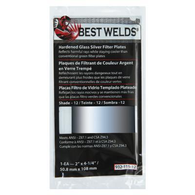 BEST WELDS Glass Silver Mirror Filter Plate, Silver/9, 4.5 in x 5.25 in, Glass
