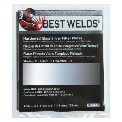BEST WELDS Glass Silver Mirror Filter Plate, Silver/11, 4.5 in x 5.25 in, Glass