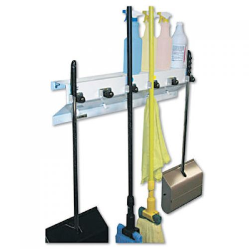 """EX-CELL The Clincher Mop & Broom Holder, 34""""w x 5 1/2""""d x 7 1/2""""h, White Gloss"""