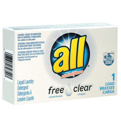 ALL Free Clear HE Liquid Laundry Detergent, Unscented, 1.6 oz Vend-Box