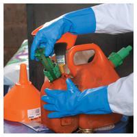 VersaTouch Gloves, 9.5, Cotton Flocking/Nitrile, Blue/White