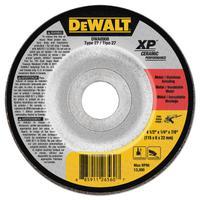 DEWALT Ceramic Grinding Wheel, 4 1/2 in Dia, 1/4 in Thick, 7/8 Arbor, 24 Grit Ceramic