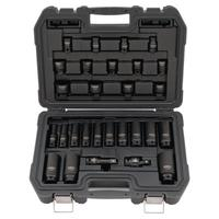 28 Piece Standard & Deep Impact Socket Sets, 1/2 in Drive, 6 Point, Inch