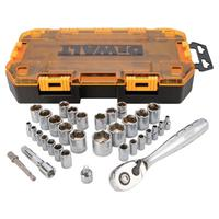 34 Piece Socket Sets, 1/4 in; 3/8 in Drive, 6 Point, Inch