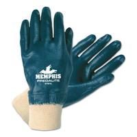 MEMPHIS GLOVE Predalite Nitrile Gloves, Fully Coated, Large, Blue