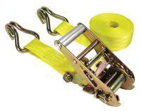 Ratchet Tie-Down Straps, Double-J Hooks, 1 3/4 in W, 15 ft L, 5,000 lb Capacity