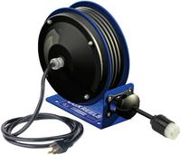 PC10 Series Power Cord Reels, 16/3 AWG, 13A, 30ft, Angle Light w/Accessry Outlet