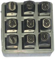 Low Stress Dot Design Steel Hand Stamp Sets, 1/4 in, 0 thru 8; A thru Z