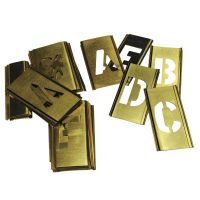 Brass Stencil Gothic Style Letter Sets, Brass, 12 in, 33 per package