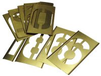 Brass Stencil Gothic Style Number Sets, Brass, 12 in, 13 per package