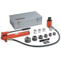 Hydraulic Knockout Sets, 4 in; 10 gauge (mild); 16 gauge (stainless), Hand Pump