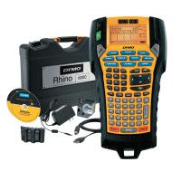 RHINO Industrial 6000 Label Maker, Includes Black on White 1 in  x 18' & 3/8 in  x 18'