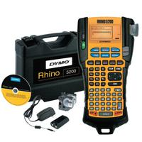 RHINO Indstrl 5200 Label Maker, w/ 3/4 in x18' & 3/8 in x18' Wht IND Vinyl Lbl Crtrdg