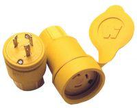 Watertite Rubber Plug, L5-30, 2-Pole/3-Wire Face View, 250 V/30 A