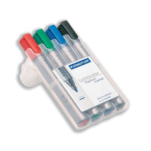 Staedtler Lumocolor Flipchart Markers Dry-safe Bullet Tip 2mm Wallet Asstd Colours Ref 356WP4 [Pack 4]
